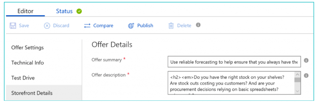 "Example of a completed offer summary and offer description in the ""Offer details"" section of the Cloud partner portal"